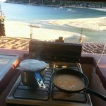 Cooking breakfast and watching the whales!