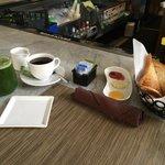 Juice, Coffee, Toast with fresh Jam