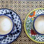 The awesome coffee in beautiful Talavera pottery in the morning