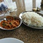 Rice with gatte ki sabzi - a Rajasthani delicacy
