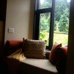 zen window seat in the room