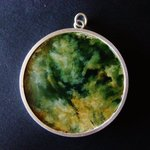 Marsden flower jade disc, sterling silver casing and chain.