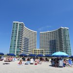 View from the beach, notice the city rental chairs lined up.