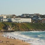 View of the hotel from Fistral Beach - within easy walk via path