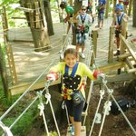 10 year old on one of the obstacles