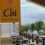 Enjoy your meal indoors or outdoors at Chi, with sun and shaded seating offering a nice view!