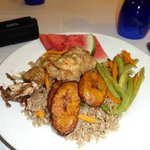 Jamaican food night - rice and peas, plantains, green beans, stew chicken and fish
