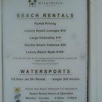 Precio de las actividades en la playa