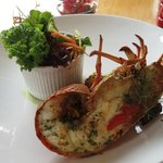 Half crayfish with garden salad