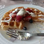 Belgian waffle with berries from room service. yum!