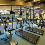 Fitness center overlooks our indoor pool
