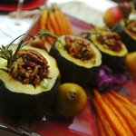 Acorn Squash with Bourbon Raisin Filling