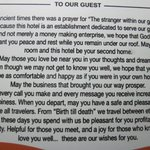 A beautiful prayer to guests in the guest rooms