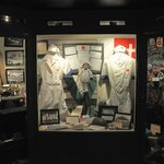 Hospital apparel are among the collection of military uniforms in the main exhibit hall.