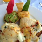 The food was fantastic at every full meal at the Sky BAr.  Eggs benedict
