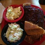 Ribs, pulled pork, coleslaw, and potato salad