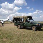 Sentinel safari vehicle at the airstrip.