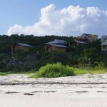 view of the bungalows from the beach