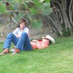 Just talkin' & relaxin outside the lodge