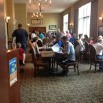Busy breakfast room, 15 person line up not shown