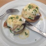 Eggs florentine with smoked salmon and spinach.