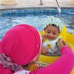 baby Sila enjoying her first swim