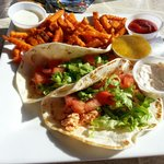 Fish tacos with sweet potato fries