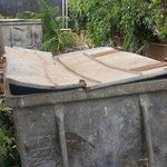 Open big bins behind my bedroom (view out window)