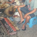 Cooking satay at Gianyar Night Market