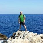 Tough guy pose on Le Sentier du Littoral, Cap d'Antibes