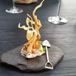 delicious cheesy mouse with dried caviar and parsnip crisps