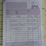 This is the bill for our 250b khao Thom Goong. No it was not laced with gold just 5 prawns. The