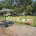 Volleyball field, chairs, picnic tables and more!