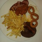 Mini mixed grill . . . Burger,sausage, bacon, chicken burger,egg, onion rings and chips with 2ro