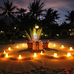 A private dinner on the soft fine sand beach