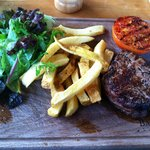 Balgove Larder Steak Barn's filet mignon, with salad, twice-fried chips, and fire-grilled tomato