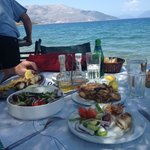 Fried calamari and greek salad