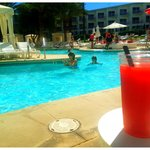 Perfect pool time with cocktail