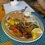 grouper, rice and beans, fried plantains, vegetables
