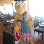 my kids with Goldy who visits everyday