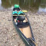 Our canoe with the 2 barrels with our stuff in it