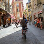 Biking through the streets of Madrid