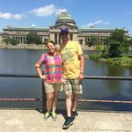 Photo of us at the site of the World's Fair, taken by tour guide Vince