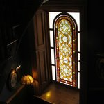 Stained glass in stairway