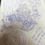 Have a look at the guest book of 12 Tónar. You'll be surprised of the nice drawings.