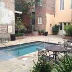 Very small pool, but perfect for kids and to cool off.  Quiet courtyard - not a lot of traffic.
