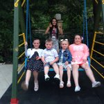 Kids at the play area with Amy