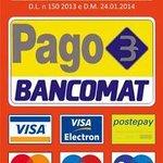 Accettiamo Bancomat e Carte di Credito (tutti i circuiti) per importi superiori a 30,00 €