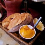 bread with mustard sauce