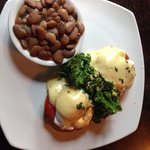 Eggs Benedict-California style with Heirloom Tomatoes, Sautéed Kale and a side of (yes, brown) B